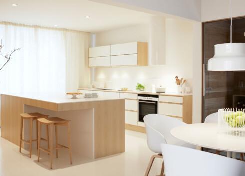 Hvite laminatplater fra Drømmekjøkkenet vant testen. Her ser du kjøkkenet Level hvit / ask.  Foto: Drømmekjøkkenet.no