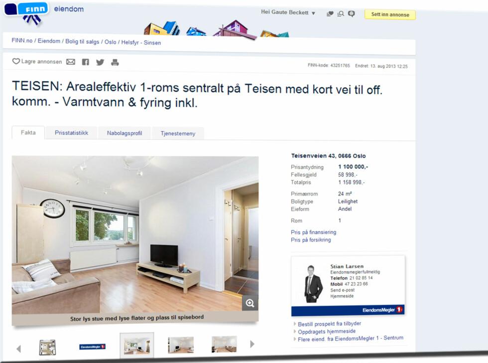 Like utenfor Ring 3 i Oslo får du 24 m2 til 1.158.998 kroner. Foto: Finn.no
