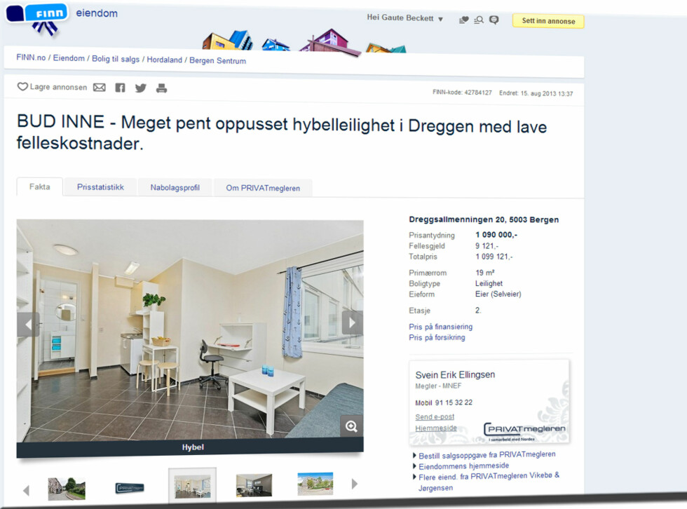 I Bergen får du en leilighet i sentrum. Den er ikke så stor (19 m2), men har til gjengjeld en totalpris på 1.099.121 kroner. Foto: Finn.no