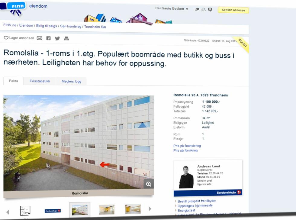 I Trondheim får du 34 kvadratmeter i Romolslia. Totalprisen er 1.142.089 kroner. Foto: Finn.no