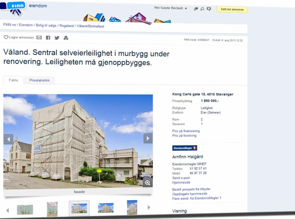 """Det er ikke godt å se på dette bildet, men i Stavanger får du altså en leilighet av ukjent størrelse på Våland. Totalprisen er 1.850.000 kroner, men også her har vi blitt """"lurt"""". Renovasjonskostnadene er nemlig ikke tatt med, og de er foreløpig beregnet til å komme på 600.000. Foreløpig, altså. Foto: Finn.no"""