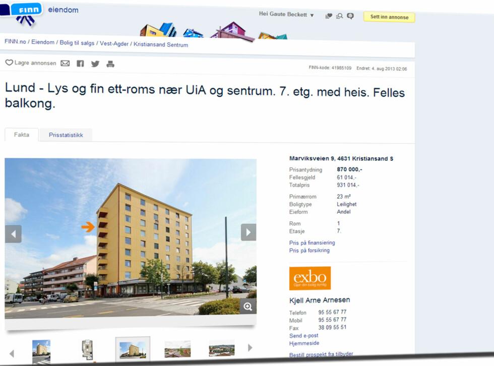 På Lund i Kristiansand kan du få deg 23 kvadratmeter i en blokk. Totalprisen er under én million kroner.  Foto: Finn.no