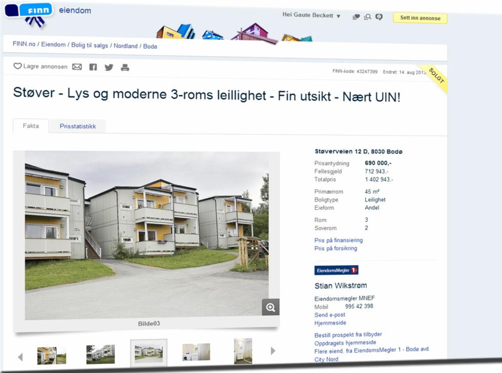 Her i Støverveien i Bodø kunne du få deg en 45 m2 leilighet med to soverom (leiligheten er solgt).Total pris: 1.402.943,- Foto: Finn.no