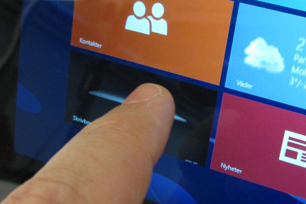 Windows 8 ble utviklet først og fremst med tanke på berøringsskjermer. Så langt har imidlertid interessen for PC-er med slike skjermer vært laber. Foto: Bjørn Eirik Loftås