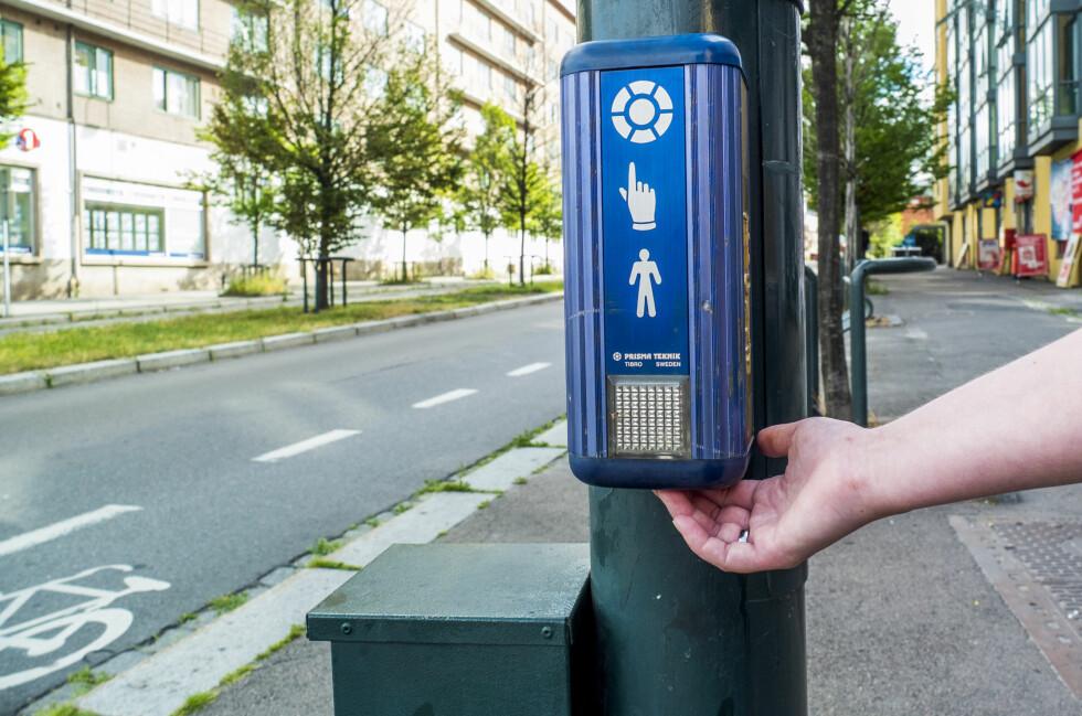 HEMMELIG KNAPP: Under boksen ved lysregulerte gangfelt finner du ofte en ekstra knapp. Trykker du her, får du bedre tid over veien. Foto: Per Ervland