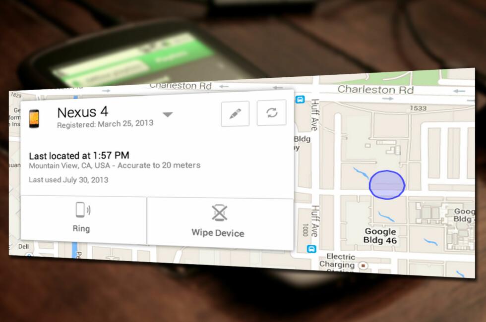 Her er Googles nye sporingstjeneste for mobilen, Android Device Manager, som blir tilgjengelig på så godt som alle Android-enheter senere denne måneden.
