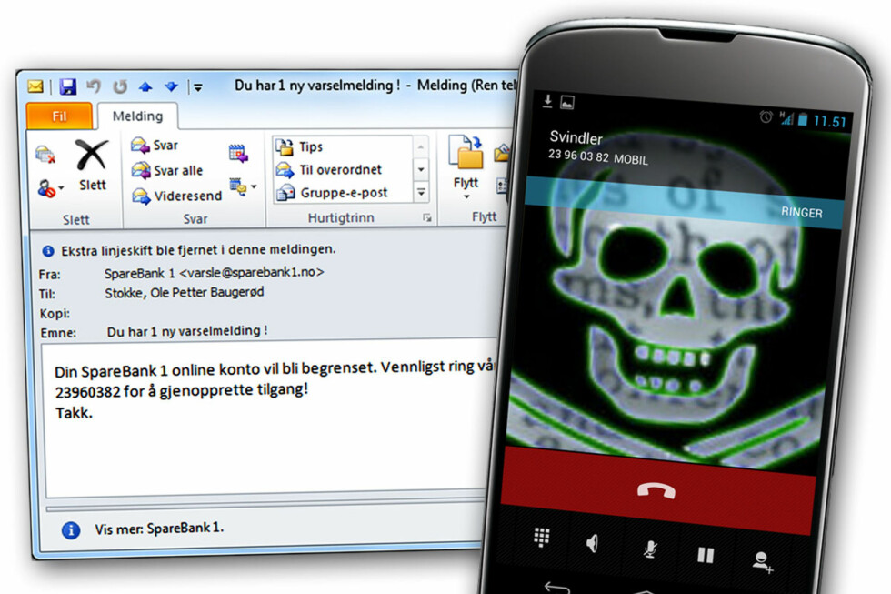 <strong>IKKE RING:</strong> Ringer du nummerne svindlerne oppgir i e-postene sine, kan du vente deg alt annet enn hjelp. Foto: Ole Petter Baugerød Stokke