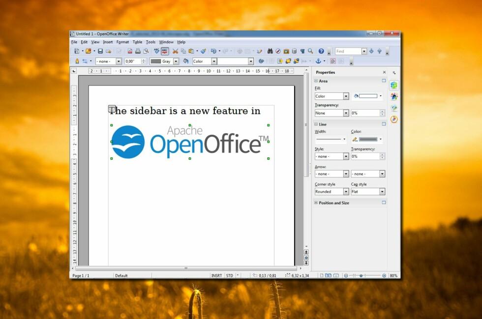 Endelig kom OpenOffice i ny versjon, med den helt nye sidebaren til høyre.
