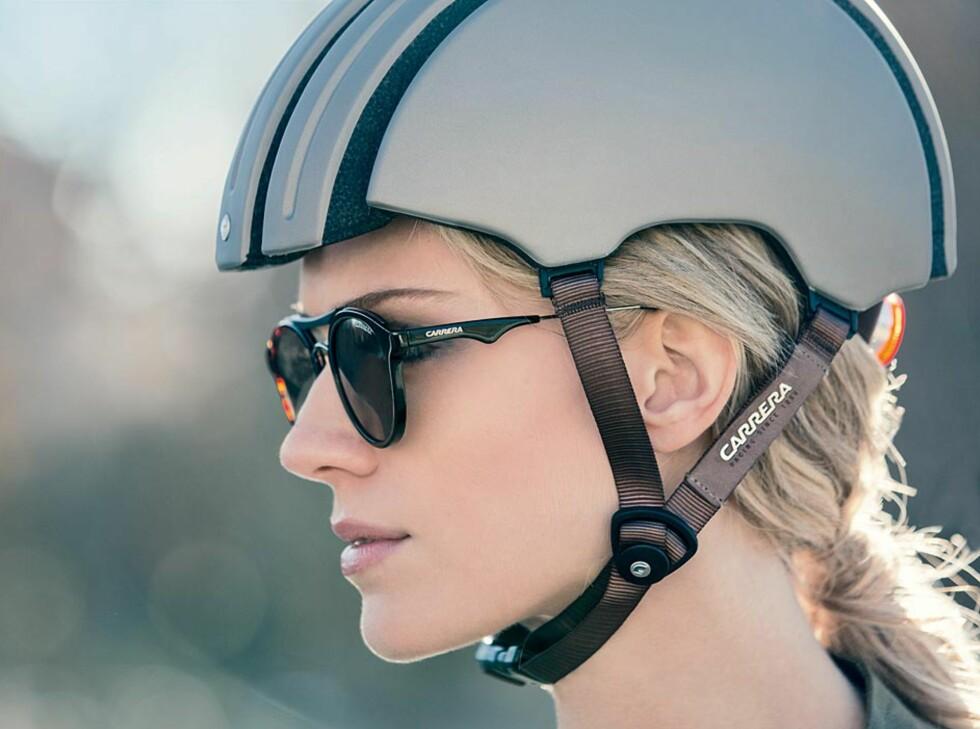 Ganske lekker, hjelmen altså. De stilrene linjene er hentet fra noen av de første sykkelhjelmene i skinn. Foto: Carrera