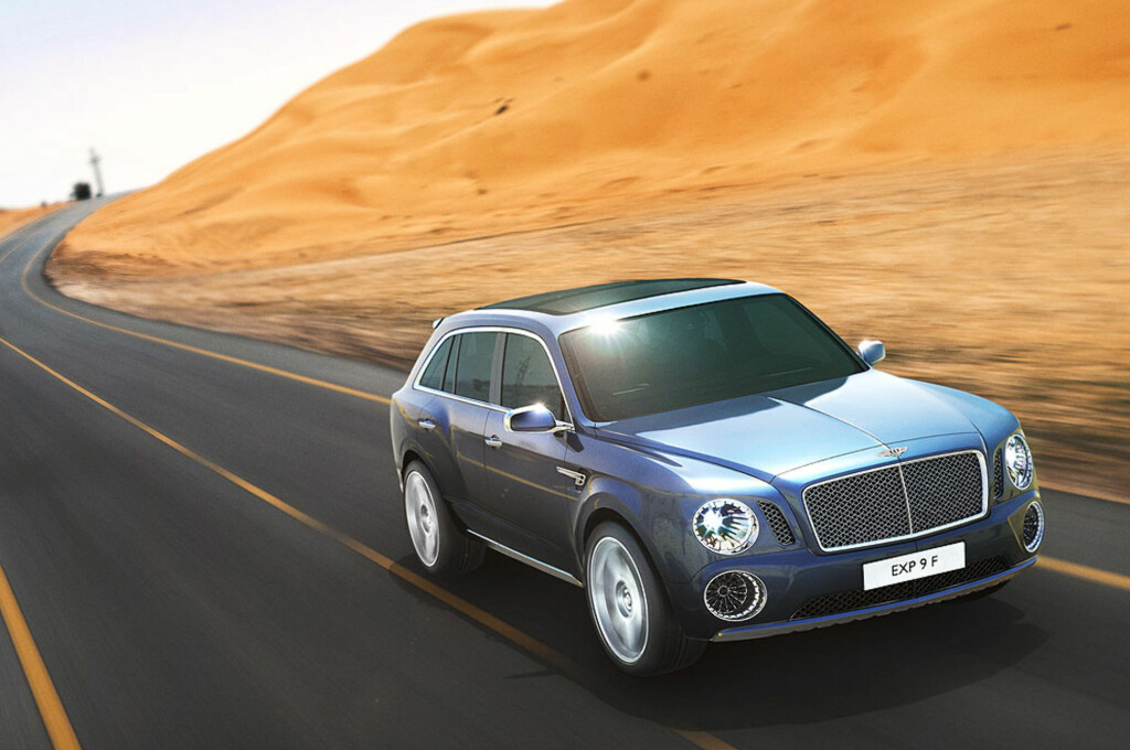 EXP 9 F het denne konseptbilen som Bentley viste i Genève i 2011. SUV-en som skal lanseres kommer til å få en noe annerledes design. Heldigvis, ifølge de flestes mening, skal vi tro spørreundersøkelsene. Foto: Bentley