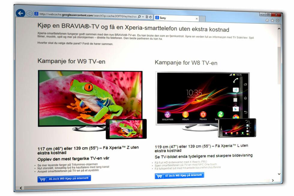 """""""PERFEKT SAMMEN"""": Sony vil gjerne at folk får øynene opp for samarbeidet mellom deres mobiler og TV-er, og kjørte en kampanje med gratis Xperia-mobil ved TV-kjøp i sommer. Slik så nettsiden ut før kampanjen gikk ut (dette er Googles bufrede kopi).  Foto: Ole Petter Baugerød Stokke"""