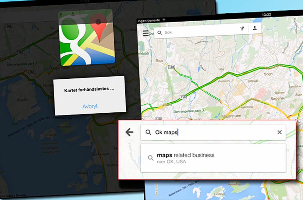 Google Maps er kjekk å ha, men er du uten internett, kan det fort bli vanskelig å bruke tjenesten på mobilen eller nettbrettet. Men et «hemmelig» triks kan fikse den saken lett. Foto: Kirsti Østvang