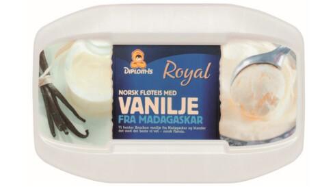 HAR VANILJE: Royal Vanilje har både bilde av vanilje og vanilje i oppskriften.  Foto: Diplom-Is