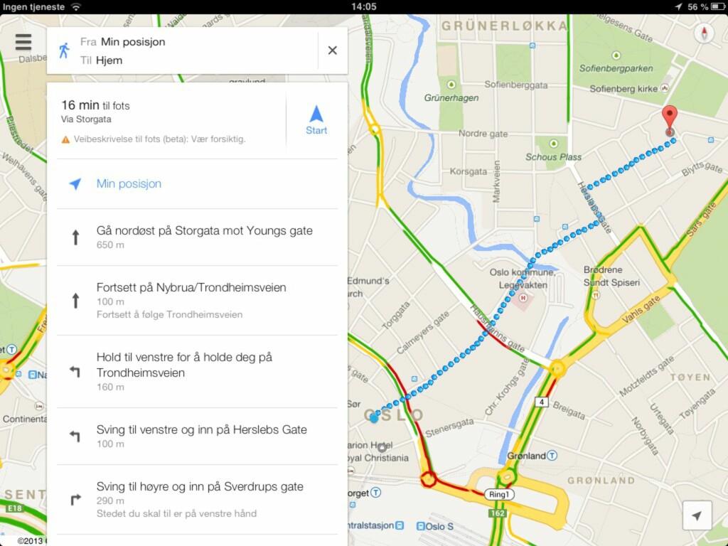 Slik ser en veibeskrivelse ut i nye Google Maps på iPad. Den har de samme gjenkjennelige designen Google har innført på andre tjenester i senere tid. Rent og pent, og lett å bruke.