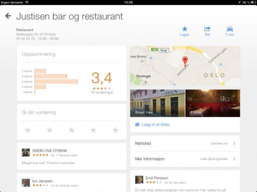 """Google Maps har fått nye """"infoark"""" og viser nå stedsinformasjon på en bedre og mer oversiktlig måte. Anmeldelser fra venner på Google+ og ekspertinnhold fra Zagat er også inkludert."""