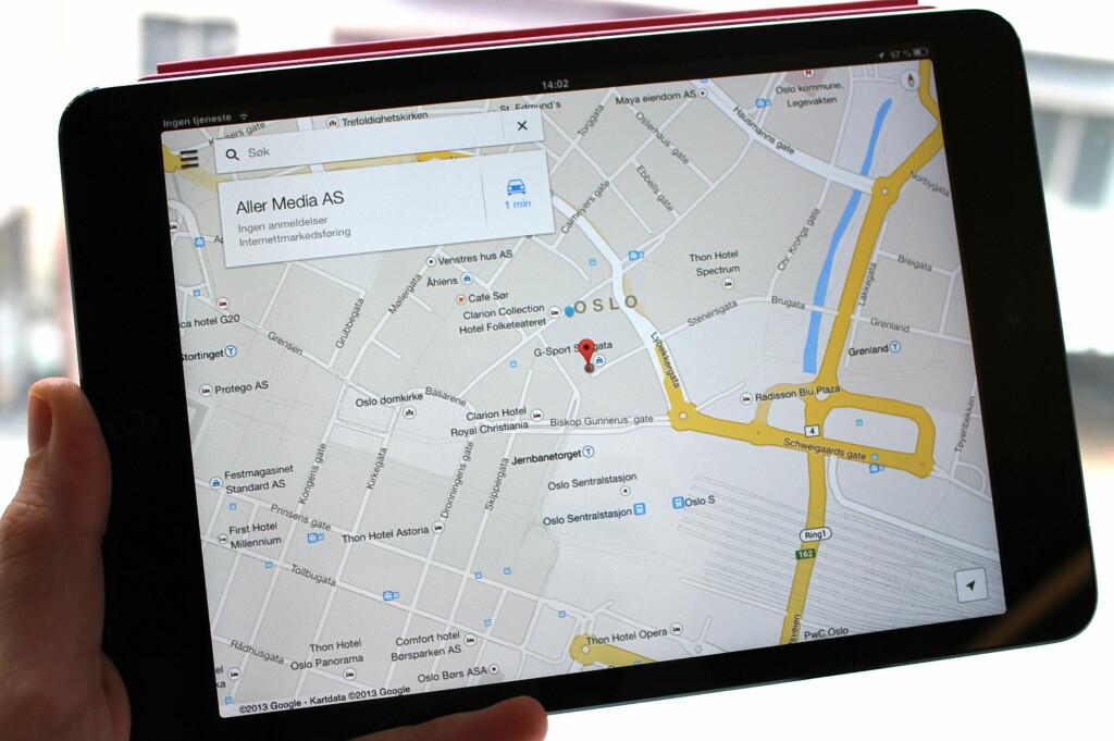 Nå kan Apple få det tøft på kartfronten - Google har endelig lansert sin egen tjeneste for konkurrentens nettbrett. Foto: Kirsti Østvang