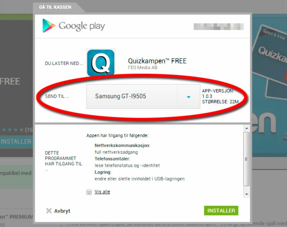Har du flere Android-enheter registrert på kontoen din, vil du kunne velge mellom de fra rullegardinlisten vist ovenfor. Foto: Kirsti Østvang