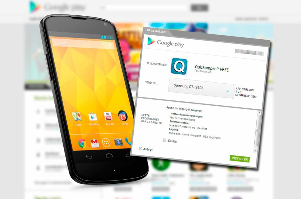 Google Play-butikken har en smart funksjon som gjør det veldig lett å installere apper på alle Android-dingsene dine. Foto: Kirsti Østvang
