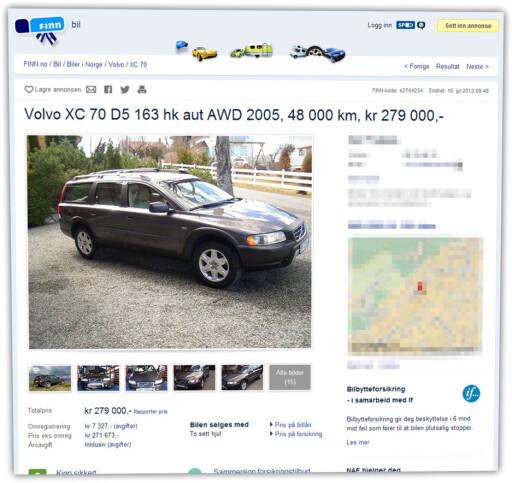 KOSTBAR: Det var en Volvo av denne typen, XC 70 fra 2005, som skulle selges på Finn.no. Prisen ble satt til 245.000 kroner. Bilen på dette bildet er ikke bilen vi omtaler i artikkelen.