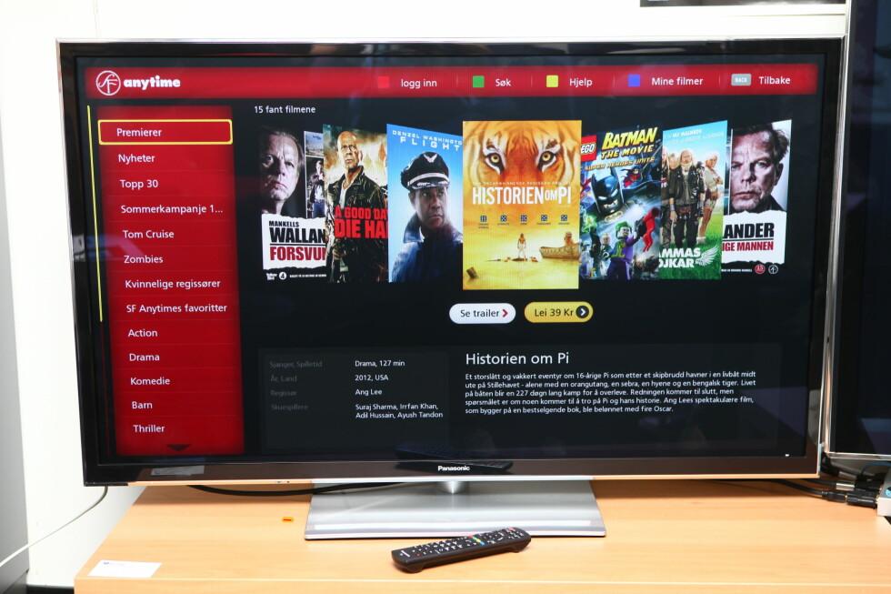 Panasonic SmartTV-funksjon har blitt klart bedre siden i fjor. Her ser du filmleie-via SF Anytime Foto: Per Ervland