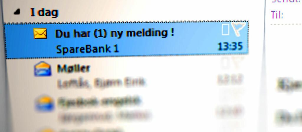 SKUMMELT: Om du får en slik e-post, og faktisk er Sparebank 1-kunde, er det lett å gå fem på. Men ofte får du slik phishing fra helt andre banker enn den du er kunde i.  Foto: Ole Petter Baugerød Stokke