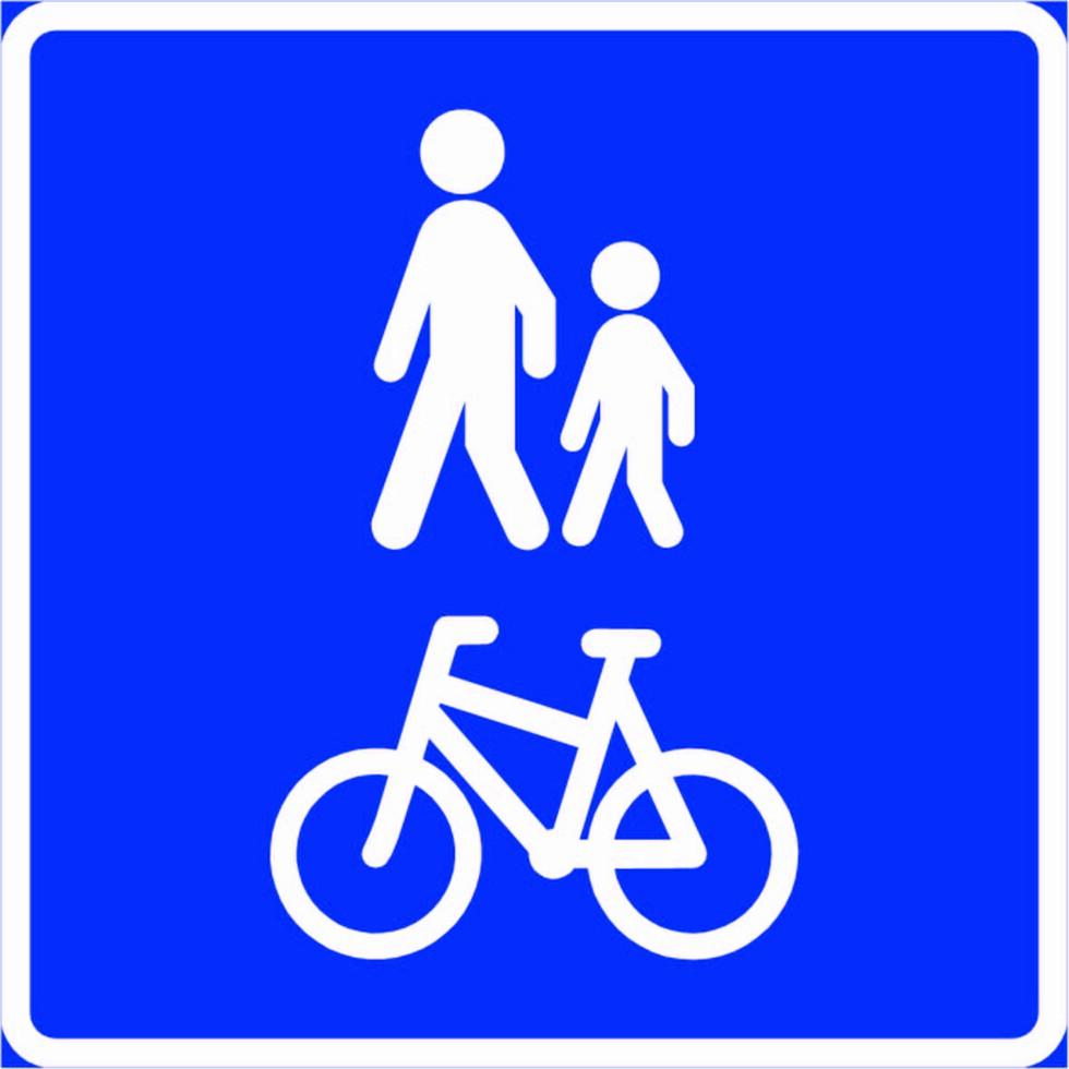 """GANG- OG SYKKELVEG: Veg som ved offentlig trafikkskilt er bestemt for gående, syklende eler kombinert gang- og sykkeltrafikk. Her skal syklister og gående """"tilstrebe et best mulig samspill."""" Hva som legges i det, kan oppleves som litt uklart.  Foto: Statens vegvesen"""