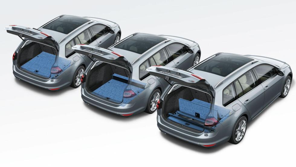 PRAKTISK: Variabel bunn gir fleksibilitet i lasterommet. Foto: Volkswagen
