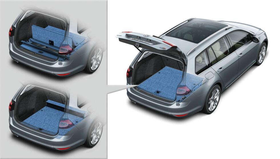 Den doble bunnen gjør det mulig å konfigurere bagasjerommet variabelt. Den kan også fjernes for å gi maksimal lasteplass totalt - 605 liter under dekselet. Det er bedre enn de aller fleste familiestasjonsvogner - også i klassen over. Foto: VW