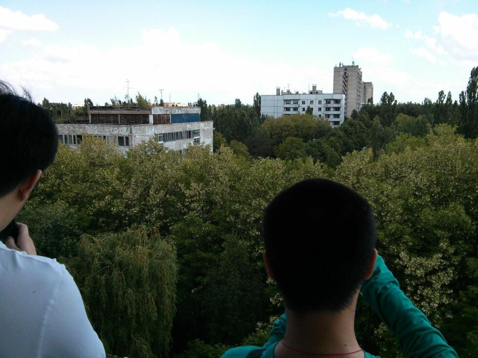Pripjat er stor, men skjules på sommeren av grønne trær.  Foto: Ole Petter Baugerød Stokke