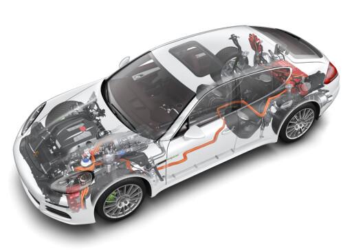 Litt av en bragd: Porsche har greid å kombinere strøm og bensin på en mesterlig måte. Komfort og kjøreglede er ivaretatt - og den kan brukes som elbil i sentrum... Foto: Porsche
