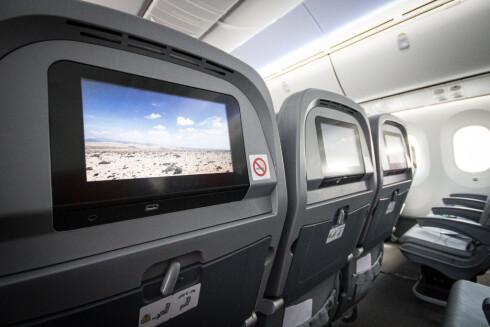 Vil Norwegians nye underholdningssystem gjøre at flere velger å la mobilen eller nettbrettet være avskrudd under flyturen? Foto: Gaute Beckett Holmslet