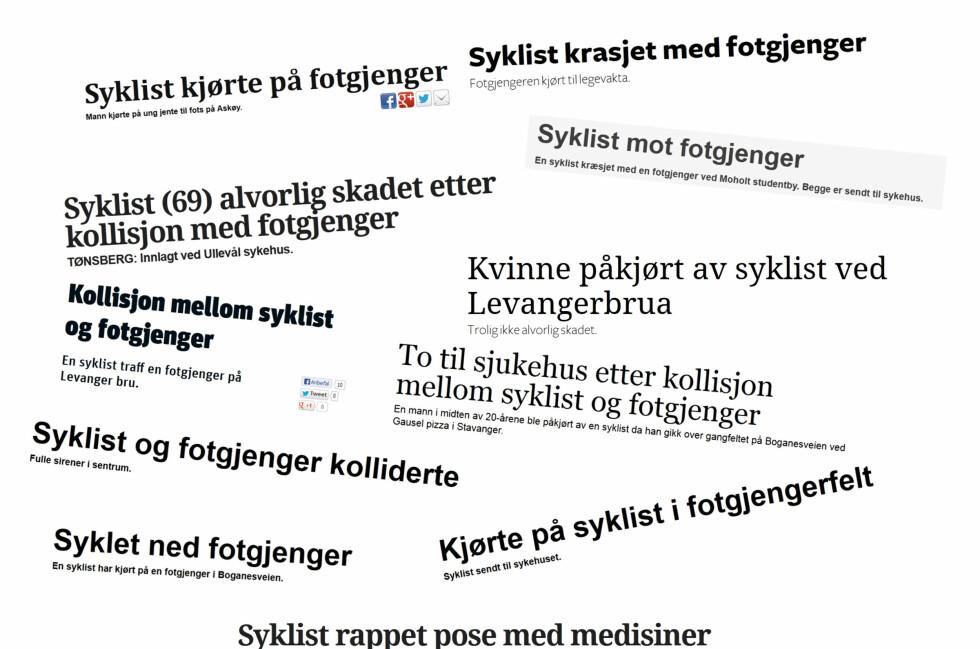 STADIG FLERE ULYKKER: Her er faksimiler fra Aftenbladet.no, Ba.no, Gjengangeren.no, Itromso.no, Levangeravisa.no, Nordlys.no, Nrk.no, Rogalandsavis.no, Tb.no og T-a.no.  Foto: Faksimile