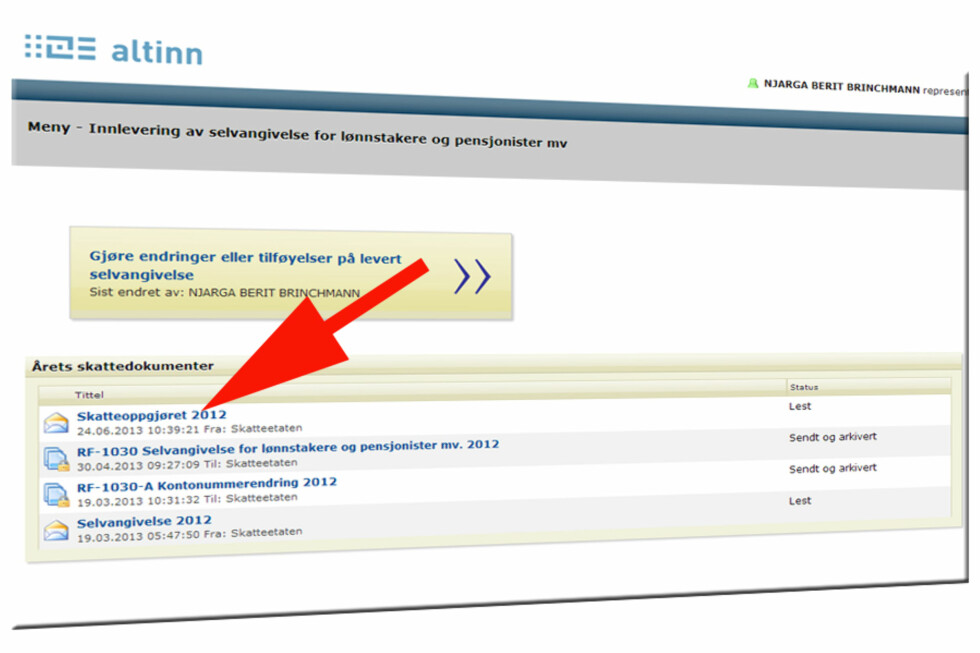 Logger du inn på Altinn, vil du finne en egen PDF-fil med informasjon om årets skatteoppgjør.