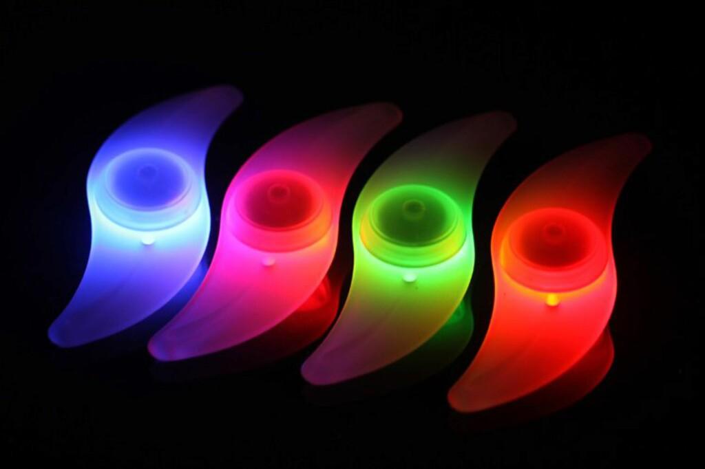 EIKELYS: Denne lager en ring av lys når du sykler, og kombinerer du flere farger blir det ganske psykedelisk.  Foto: Produsent