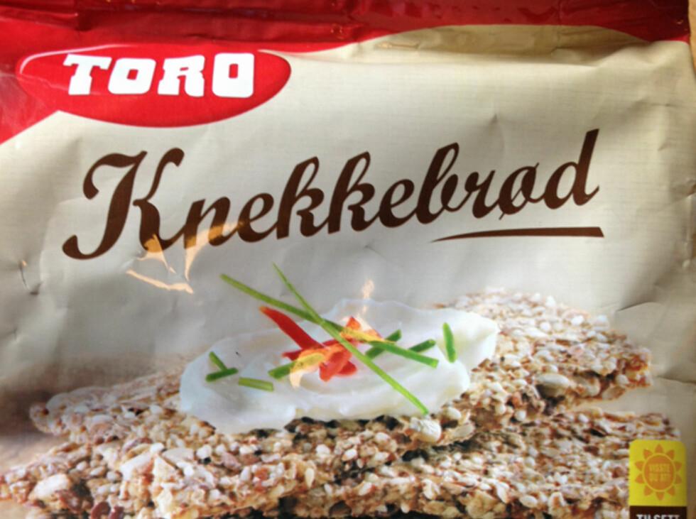 Her er produktet vi har testet opp not hjemmelagde knekkebrød. Foto: Berit B. Njarga