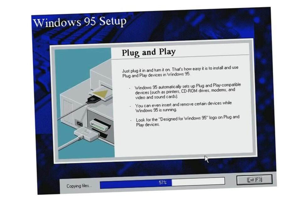 Det er sikkert mange av DinSide Datas lesere som har sett dette skjermbildet mange ganger før. Rart å tenke på at de som ble født da Windows 95 ble sluppet er i dag straks myndige.