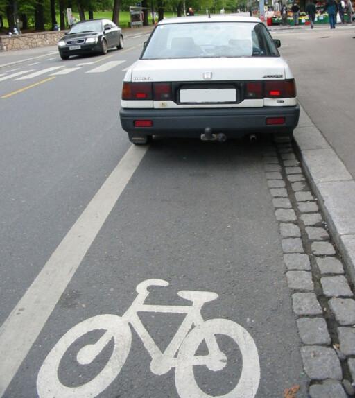 ULOVLIG OG IRRITERENDE: Slutter bilistene med dette, demper det konfliktnivået.    Foto: Trafikketaten