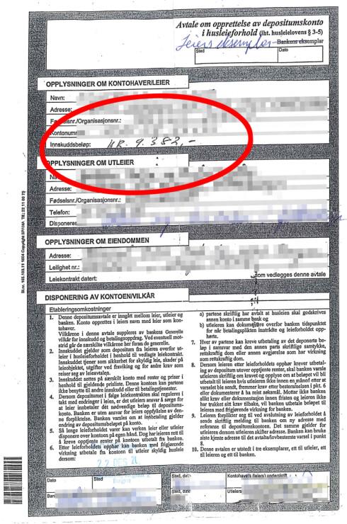 IKKE BEVIS NOK: At mannen skrev under denne kontrakten, hvor en depositumskonto med 9.382 kroner skulle åpnes, er ikke nødvendigvis godt nok bevis for DNB.