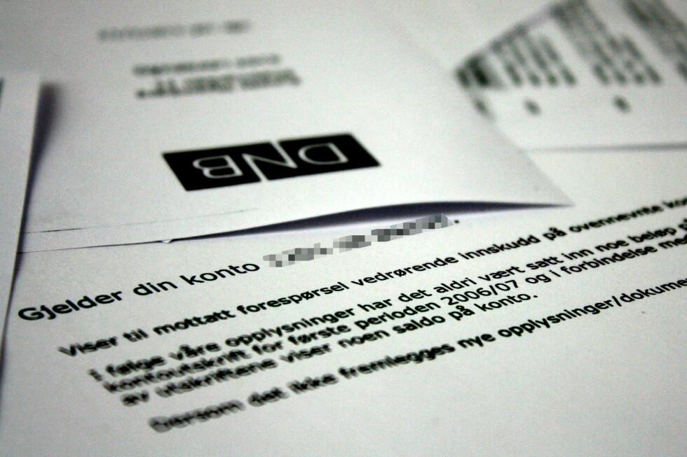 SJOKK: I dette brevet får mannen beskjed om at depositumskontoen han hadde opprettet aldri hadde noen penger.  Foto: Ole Petter Baugerød Stokke