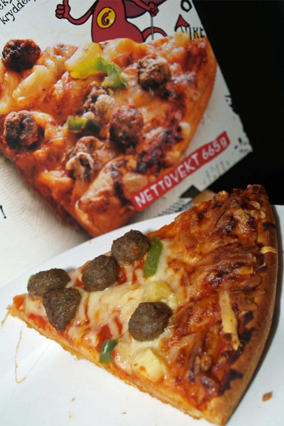 Nært nok - pizzaen på emballasjen ser bedre ut, men gir i det minste riktig inntrykk av den ferdigstekte pizzaen.