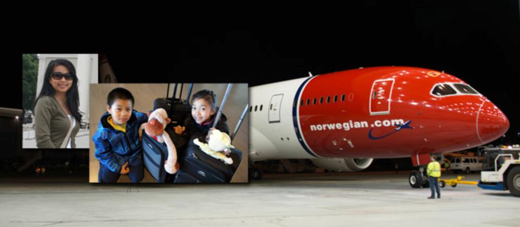 Mai Nguyen og familien føler seg lurt. De var forespeilet en reise med hypermoderne underholdning på flyet. Nå blir de bedt om å ta med seg en bok. Foto: Norwegian/Mai Nguyen/privat