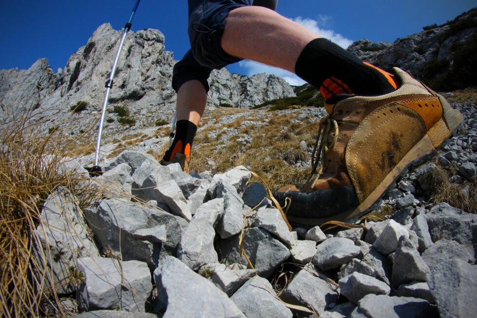 VRIDNINGSSTIVE: Jo mer utfordrende terreng, jo stivere bør skoen være.  Foto: Colourbox