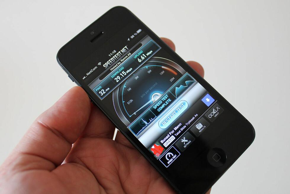 """Iphone 5 er en populær telefon, og det er operatørene klar over. Telenor """"mobber"""" Netcom litt fordi de ikke har 4G-støtte til Apples siste modell. Foto: Bjørn Eirik Loftås"""