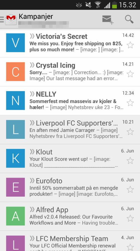 På Android vises nå profilbilder på avsenderne rett i innboksen. Mangler bilde, vises kun bokstav. Foto: Kirsti Østvang