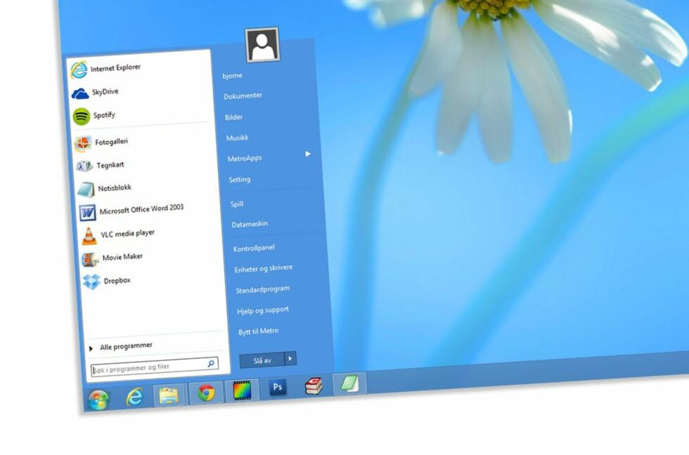 Start Menu 8 er kanskje den startmenyen som oppfører seg aller mest likt den du finner i Windows 7.