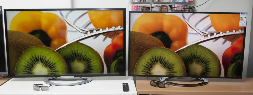 W805 til venstre, W905 til høyre. På stillbilder med masse farger og lys ser nesten alle TV-er bra ut, også disse. Spesielt i et godt opplyst rom er det vanskelig å skille de to, og dette er altså grunnen til at slikt demomateriale er flittig brukt på TV-messer og i TV-butikken.  Foto: Per Ervland