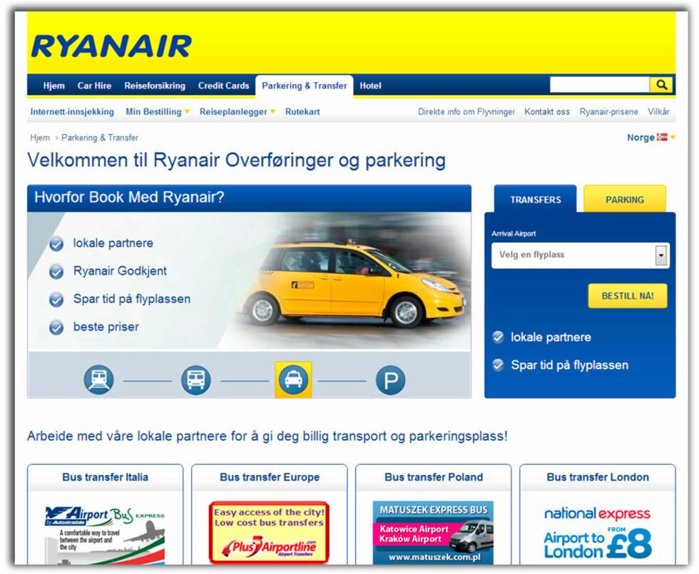 Ryanair tilbyr transport for reisende fra sine nettsider på en rekke forskjellige destinasjoner.