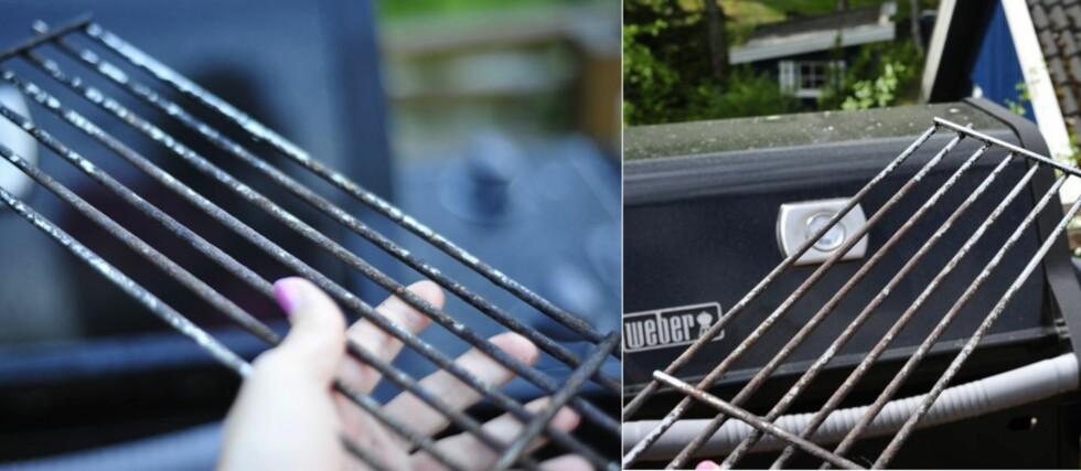 Før (til venstre) og etter: Joda, grillristen ble renere, men langt fra plettfri. Foto: Kristin Sørdal
