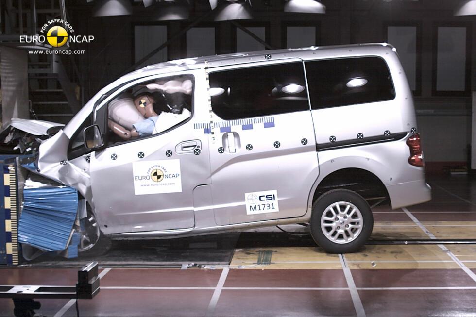 Nissan Evalia ender med tre stjerner i krasjtest. Det er de ikke fornøyde med. Foto: Euro NCAP (alle bilder)