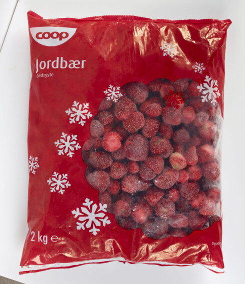 Denne 2 kilosposen med jordbær er et av de tilbakekalte produktene. Foto: Coop Norge